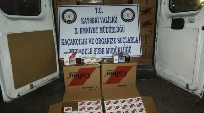 Kayseri'de polis faturasız 9450 makaron'a el koydu