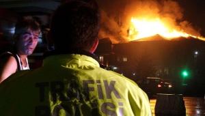 Bolu'da, 'polisevi'nde yangın