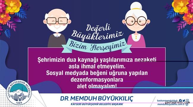 Kayseri'de Başkan Büyükkılıç, yaşlılarımızın koronavirüsten korunması için her türlü önlemi aldıklarını söyledi!