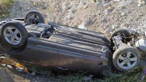 Takla atan otomobilin sürücüsü yaralandı!