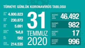 Türkiye'deki koronavirüs vaka ve ölü sayısında son durum (31 Temmuz 2020)
