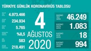 Türkiye'deki koronavirüs vaka ve ölü sayısında son durum (4 Ağustos Salı)