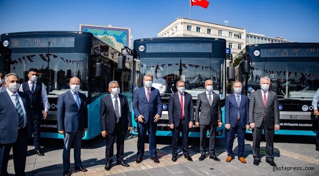 Kayseri Büyükşehir Belediyesi otobüs filosuna 24 yerli otobüs daha kattı!