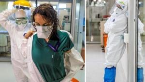 Korona savaşçıları, astronot gibi giyindikleri koruyucu kıyafetlerden sırılsıklam çıkıyorlar!