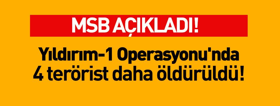 Yıldırım-1 Operasyonu'nda 4 terörist daha öldürüldü!