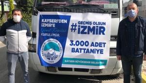 Kayseri Büyükşehir'den İzmir'e 3 Bin Battaniye