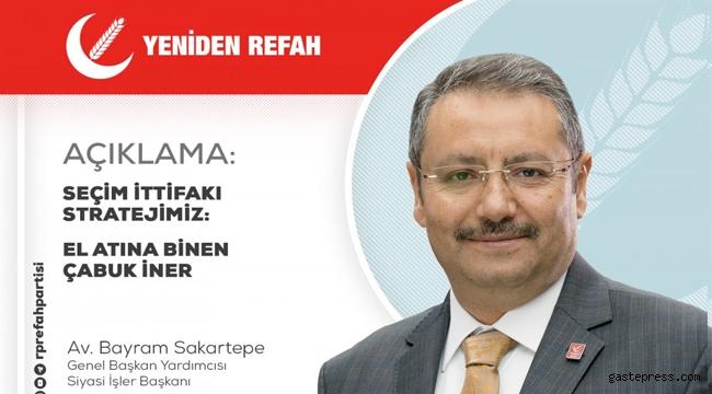 Yenide Refah Partisi Genel Başkan Yardımcısı Av. Bayram Sakartepe ''Seçim İttifakı Stratejimiz''