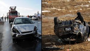 Kayseri'de 3 otomobilin karıştığı kazada, 8 kişi yaralandı!