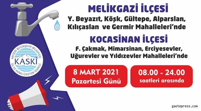 Kayseri KASKİ, 11 Mahallede Su Kesintisi Yapacak!