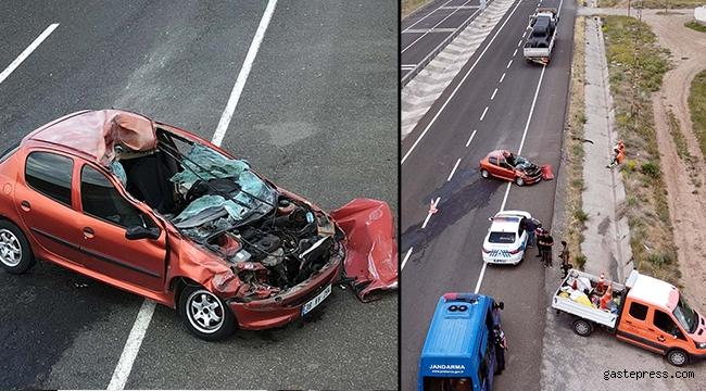 Kayseri'de, TIR'a çarpan otomobilde 4 kişilik aile yaralandı!