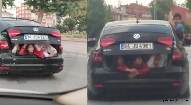 Çocukların otomobil bagajında tehlikeli yolculuğu!
