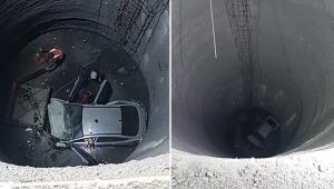 Otomobil 25 metre yüksekliğindeki metro inşaatına düştü: 1 ölü, 1 yaralı!